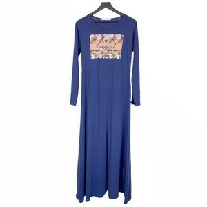 Long Sleeve Maxi Dress Tropical Breezes Coconut Girl Blue Graphic